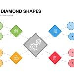 Mind map PowerPoint Template and Keynote Slide in Diamond Shape
