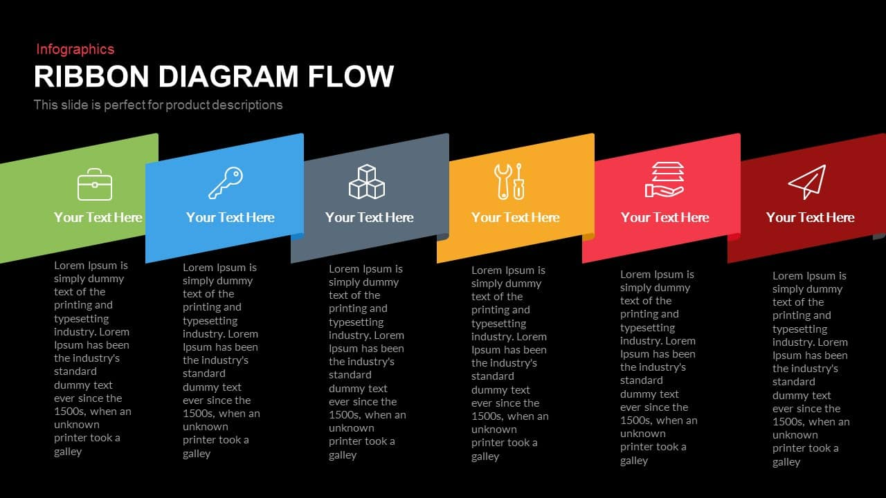 Ribbon Diagram Flow PowerPoint Template and Keynote Slide