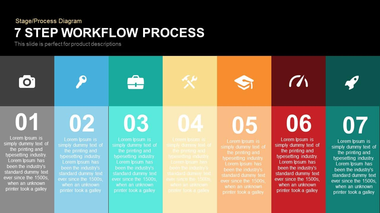 7 step process workflow powerpoint template and keynote slidebazaar