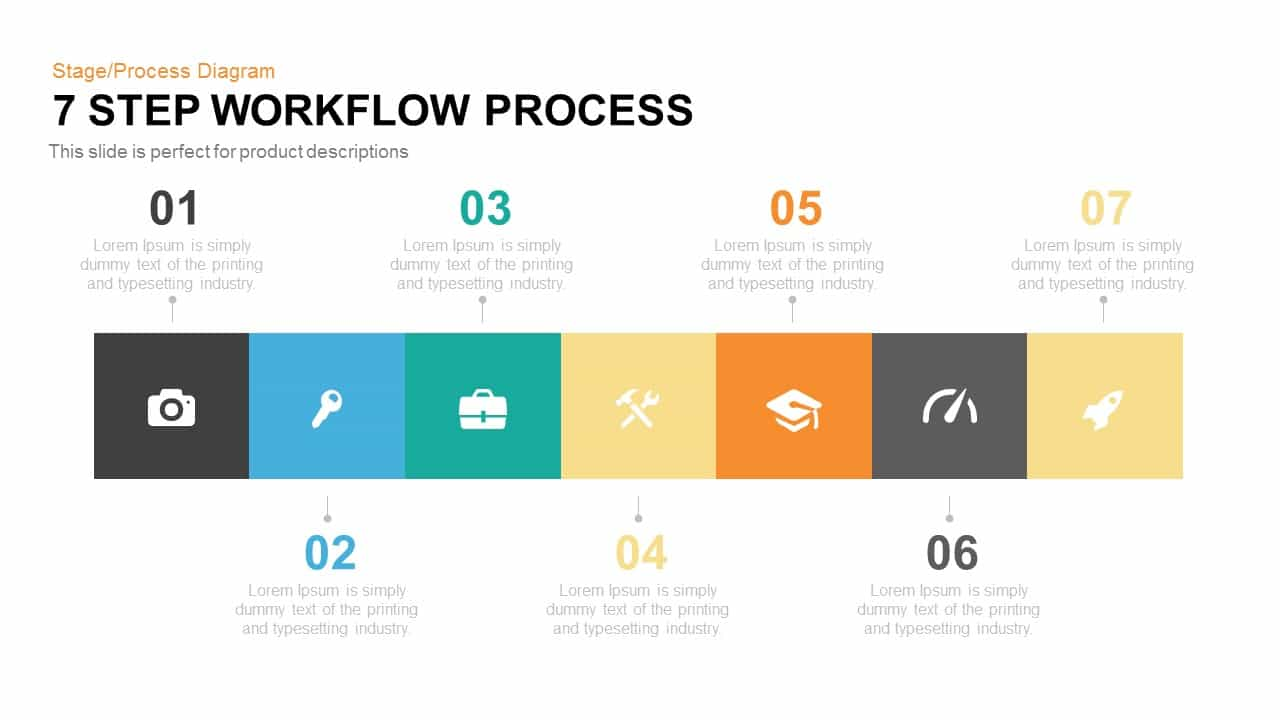 7 Step Workflow Process Powerpoint and Keynote