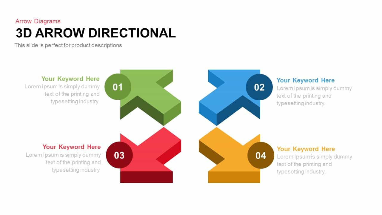 3D Arrow Directional Powerpoint and Keynote template