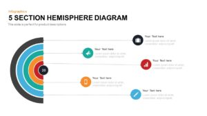5 Section Hemisphere Diagram Template for PowerPoint and Keynote