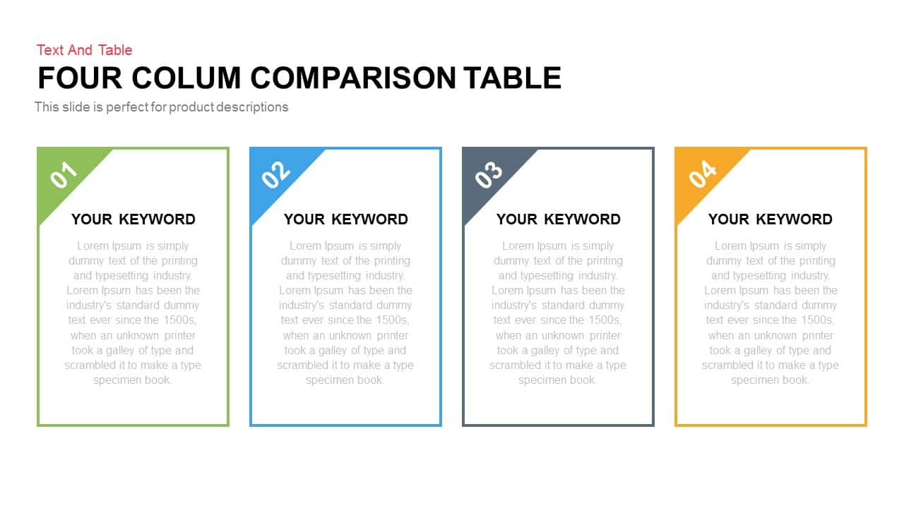 Four Column Comparison Table