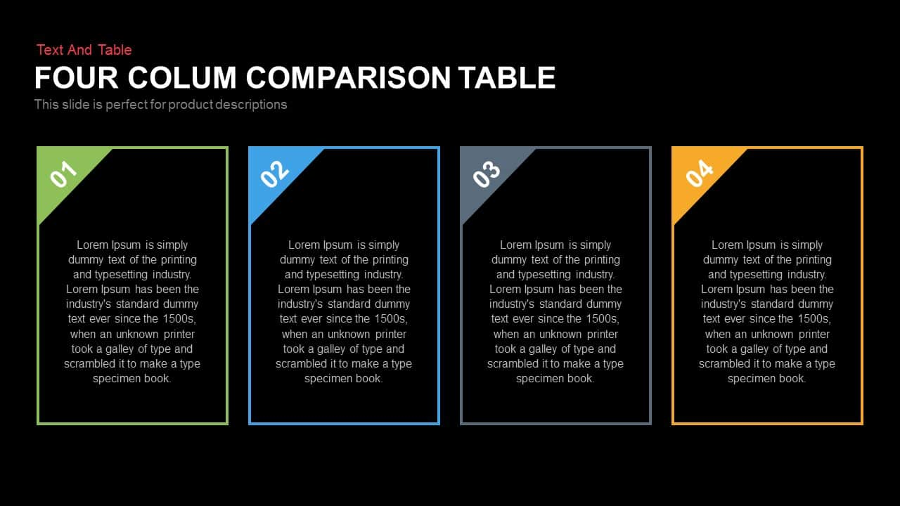 how to make a comparison table in powerpoint