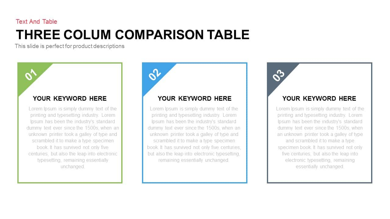 Three Column Comparison Table