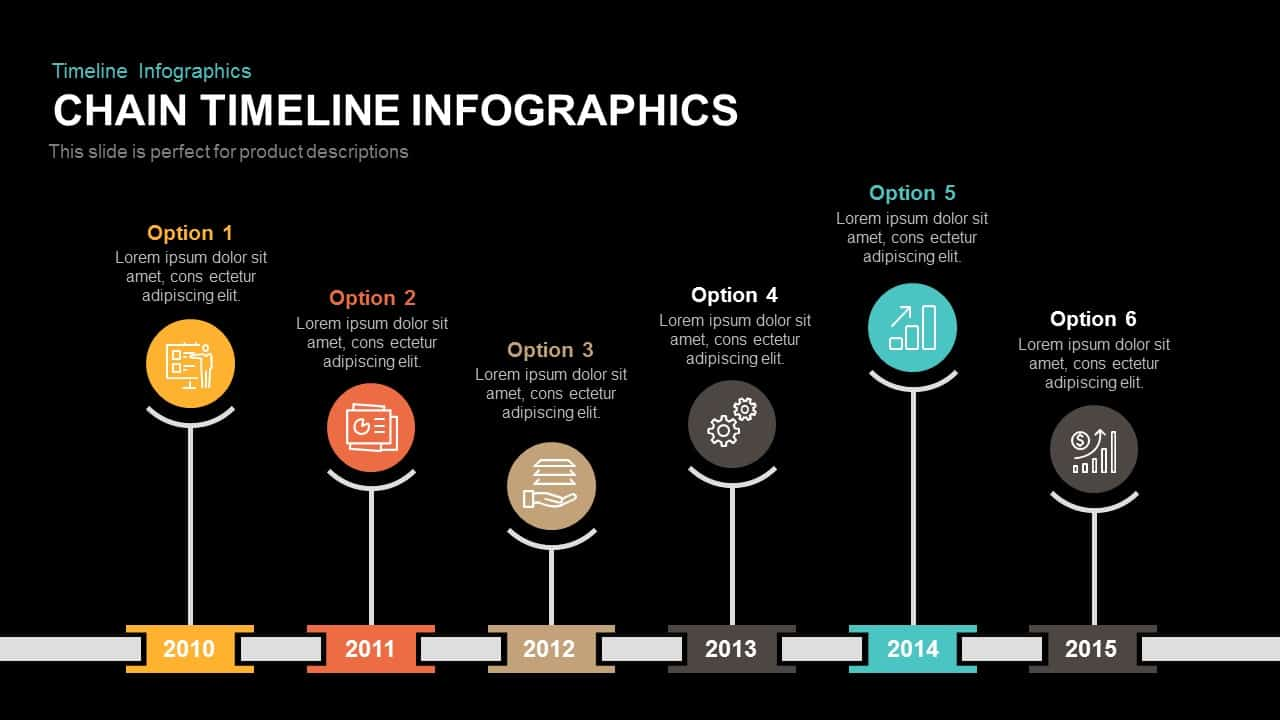 Chain Timeline Infographics Powerpoint Template Keynote Slide Process Flow Diagram With And
