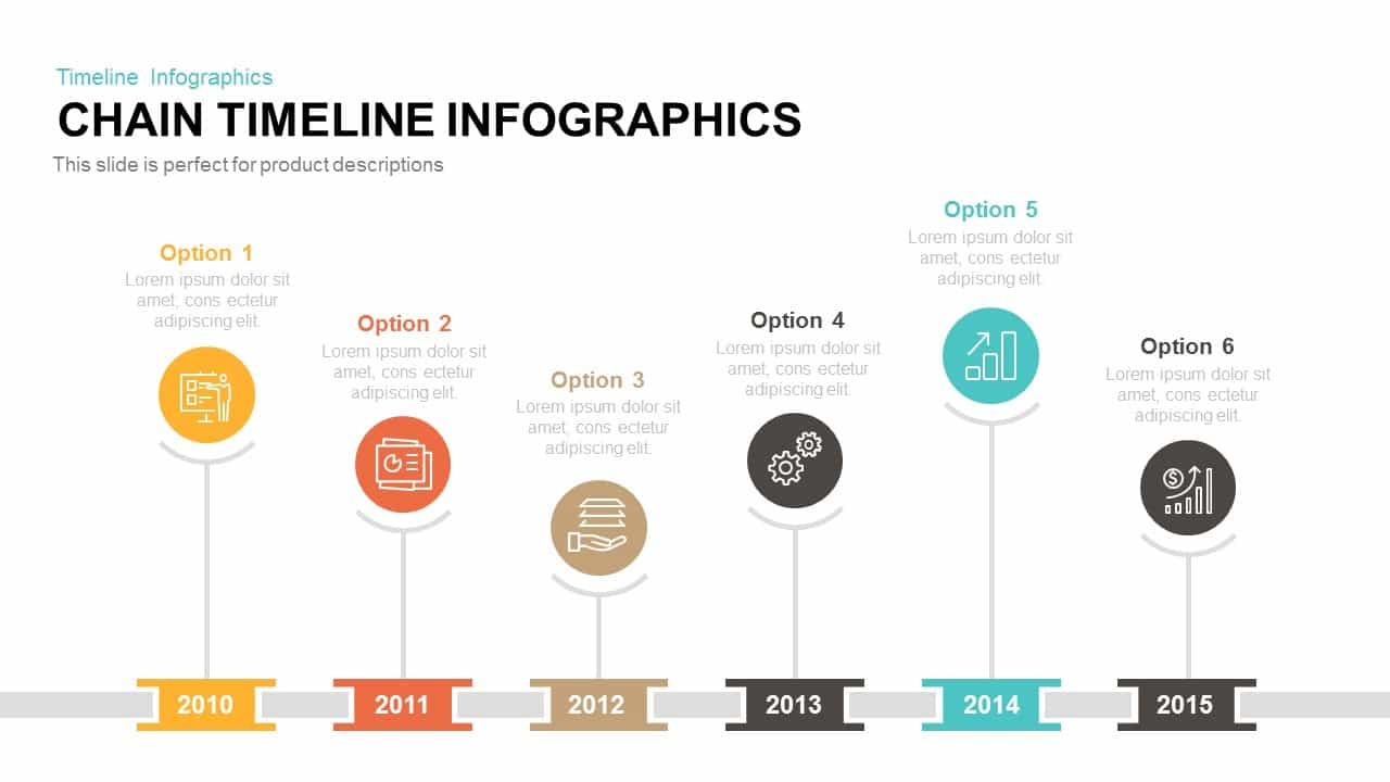 Chain Timeline Infographics Powerpoint And Keynote Template - Timeline template keynote