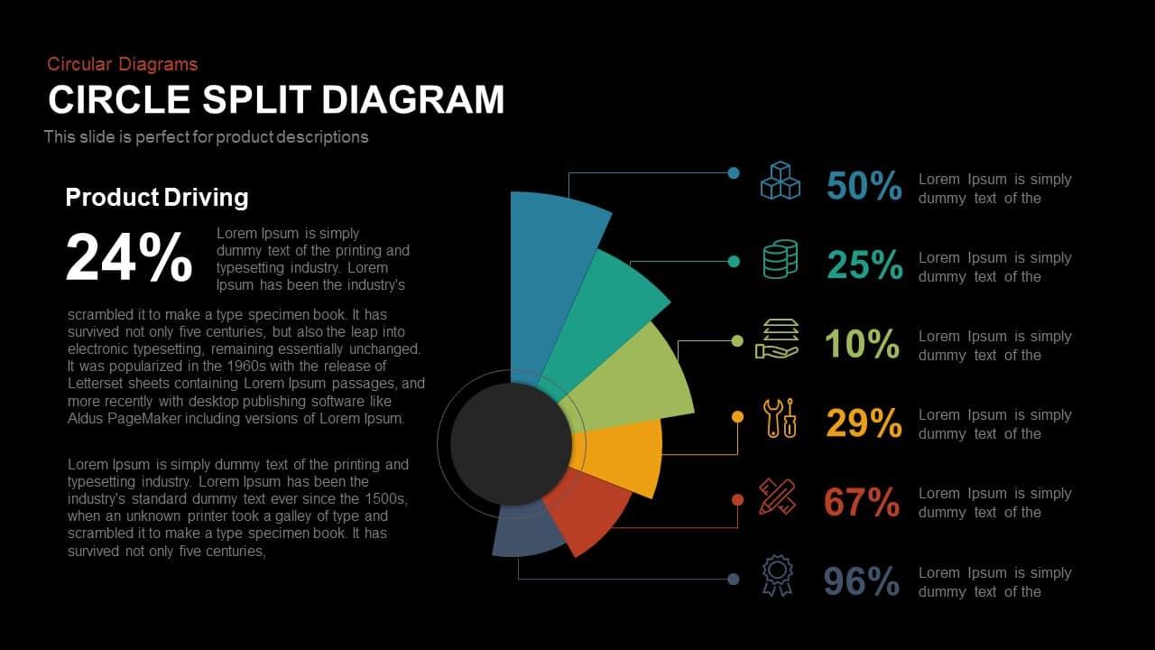 Circle Split Diagram Powerpoint and Keynote template
