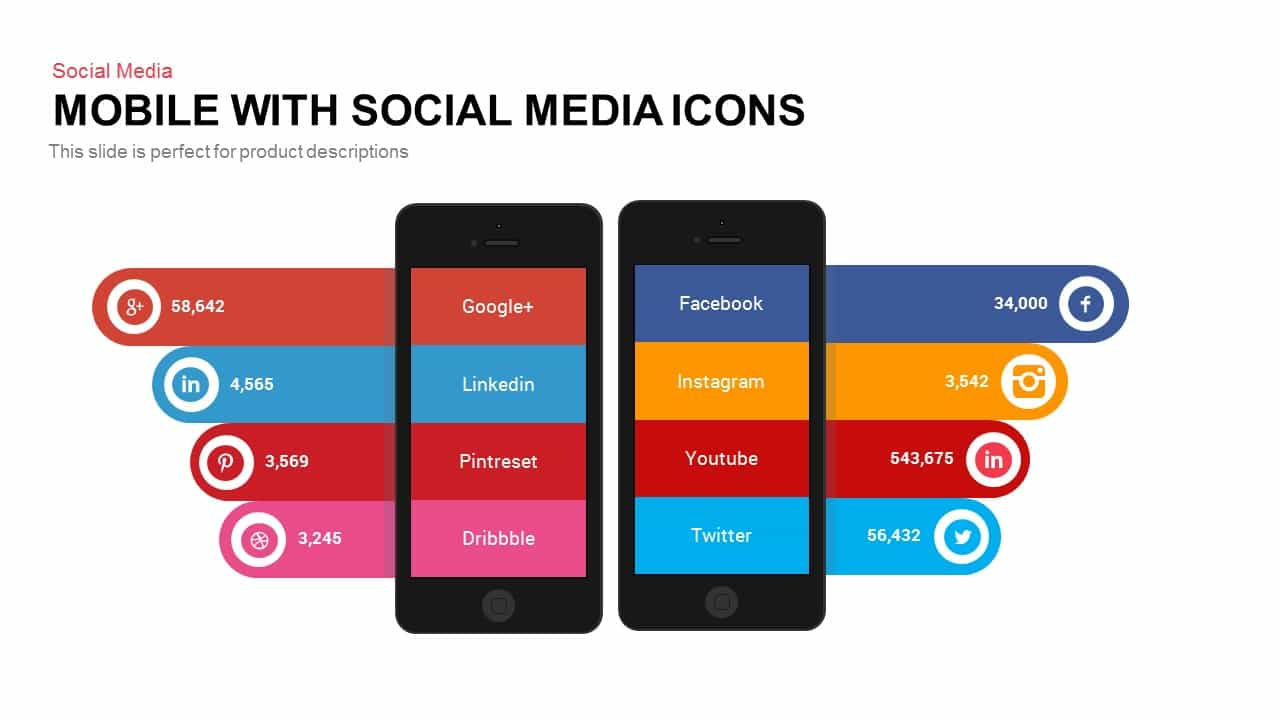 Mobile with Social Media Icons