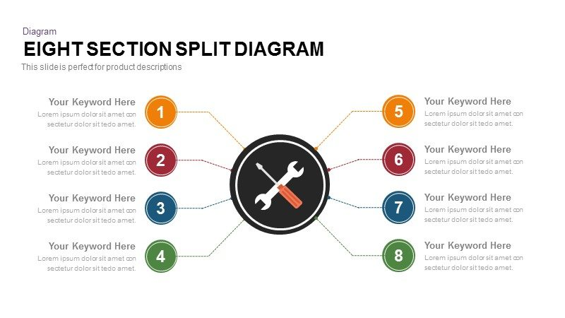 8 section split diagram for PowerPoint presentation