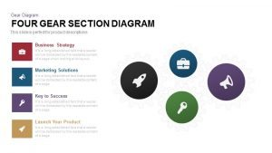 4 Section Gear Diagram PowerPoint Template and Keynote Slide