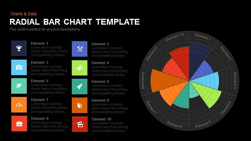 Radial Bar Chart Template Powerpoint and Keynote template