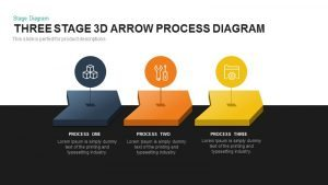 Stage 3d Arrow Process Diagram Template for PowerPoint and Keynote
