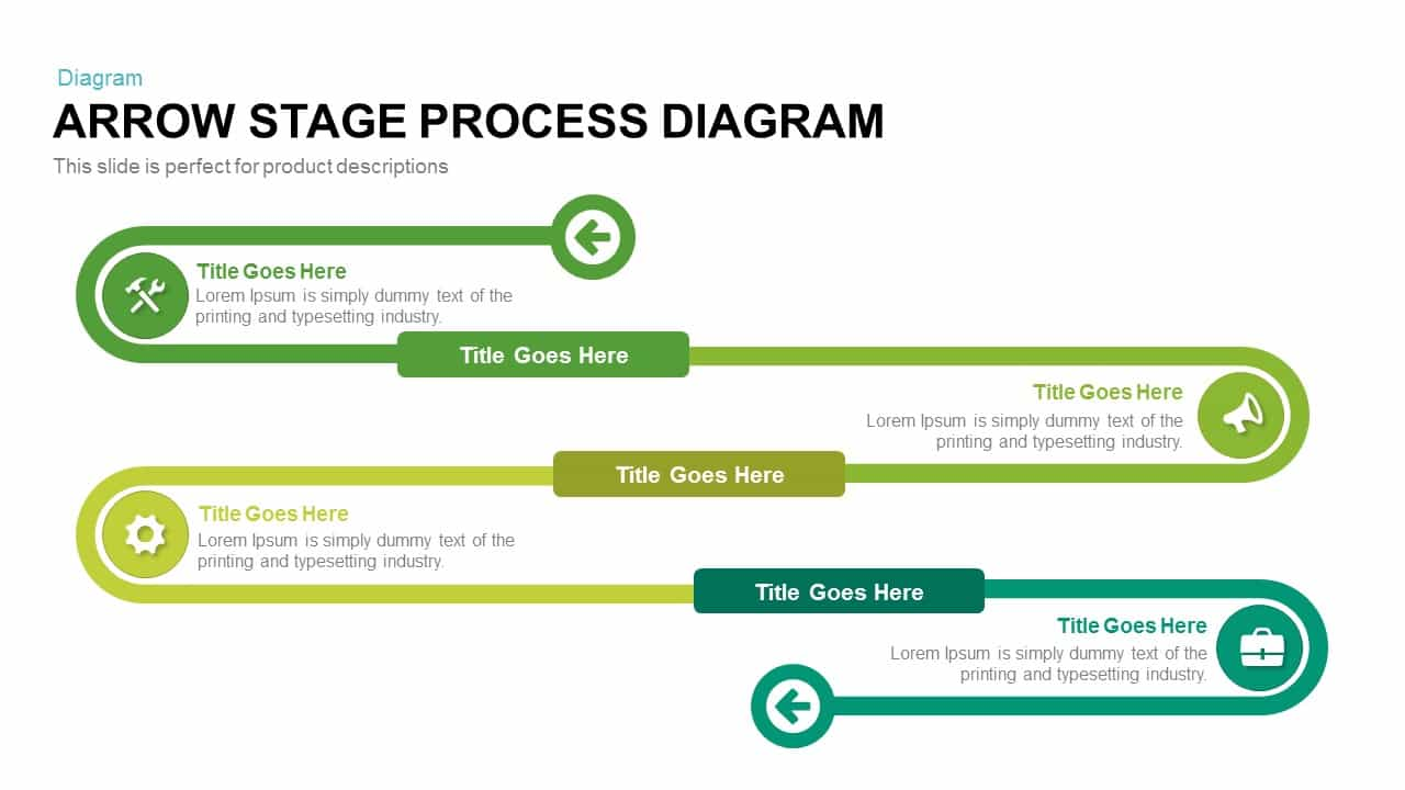 Arrow Stage Process Diagram Powerpoint and Keynote template
