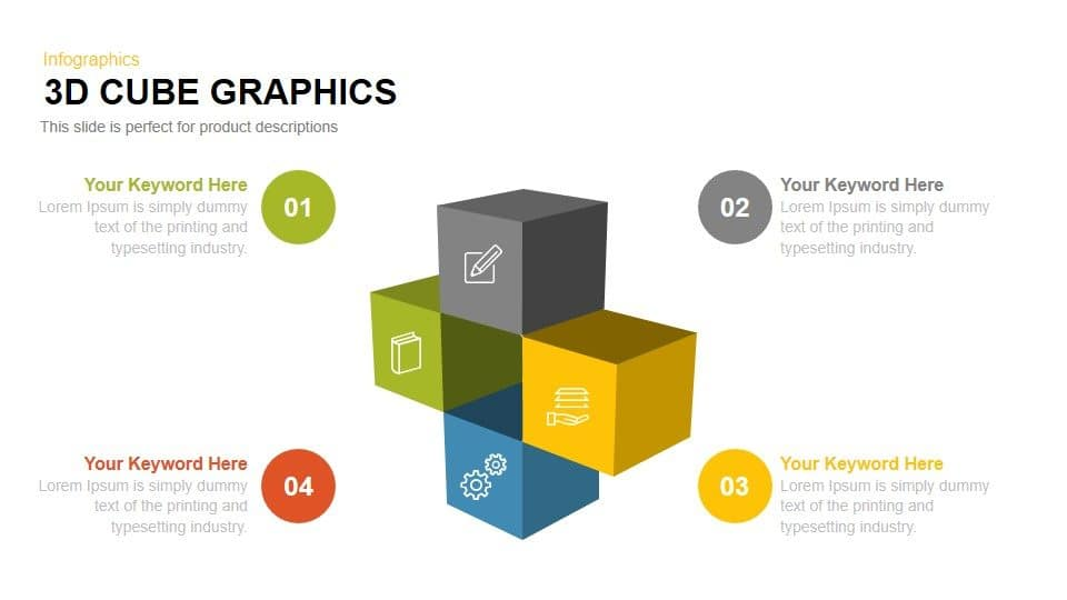 3d cube graphic PowerPoint template and Keynote