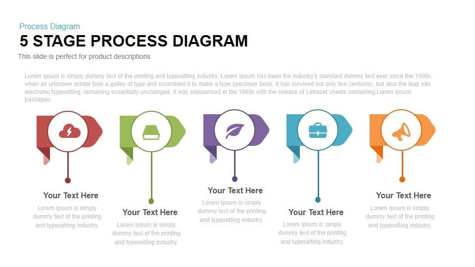 5 Stage Process Diagram Powerpoint and Keynote
