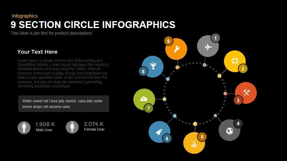 9 section circle PowerPoint template and keynote