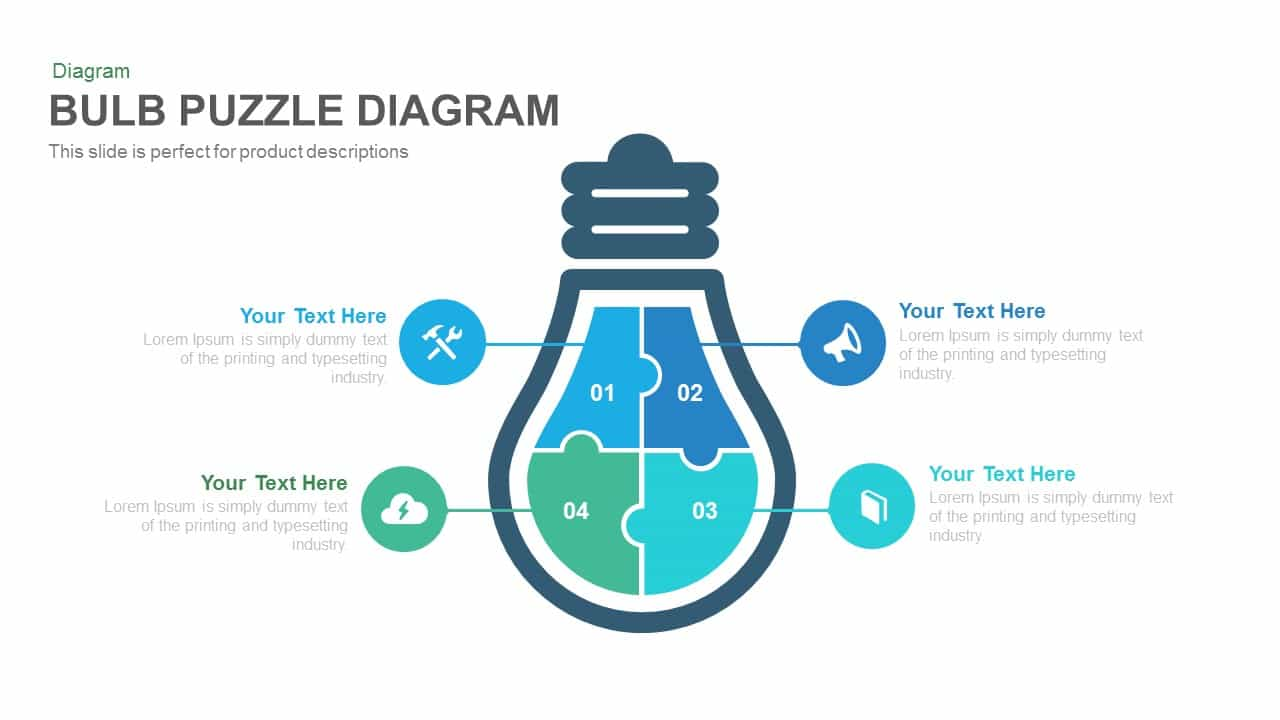 Bulb Puzzle Diagram Powerpoint and Keynote template