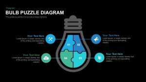Bulb Puzzle Diagram PowerPoint Template and Keynote
