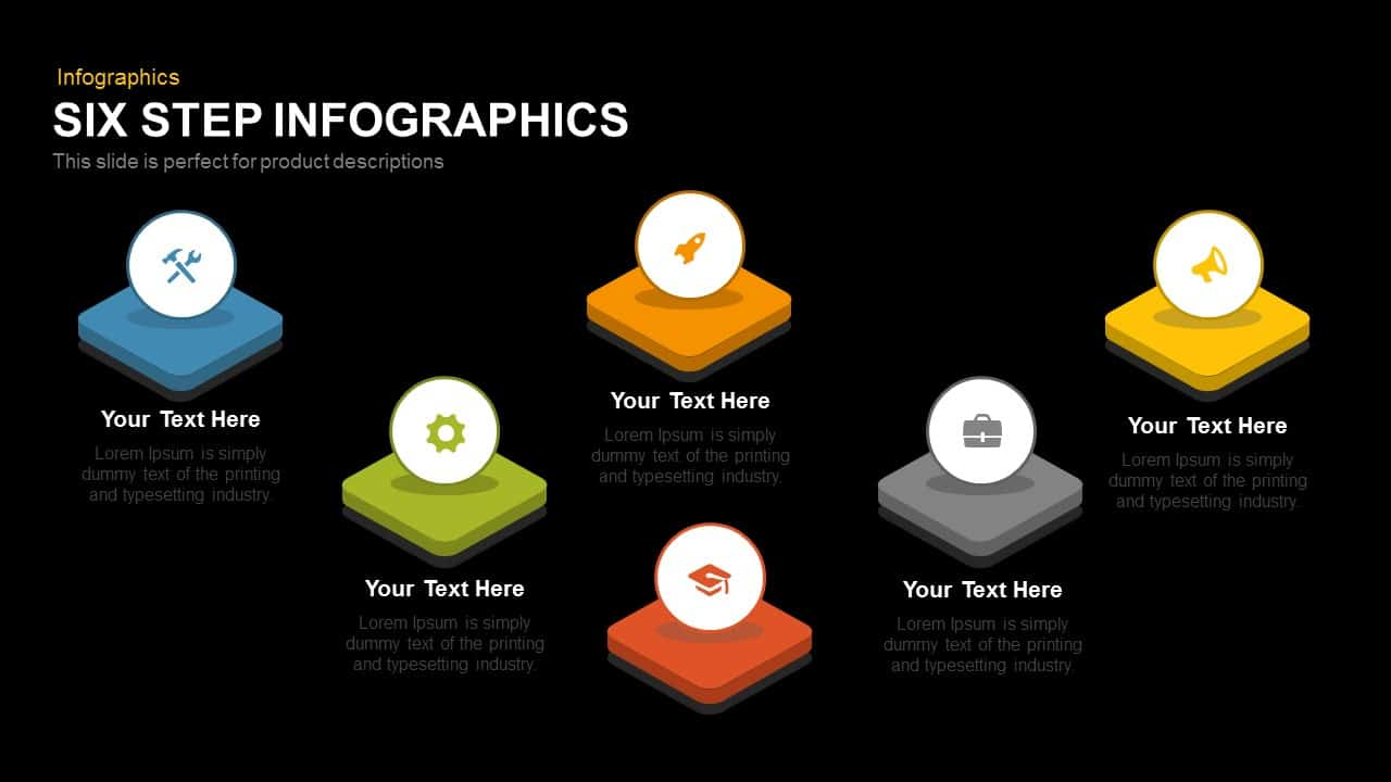 Six Step Infographics Powerpoint and Keynote template