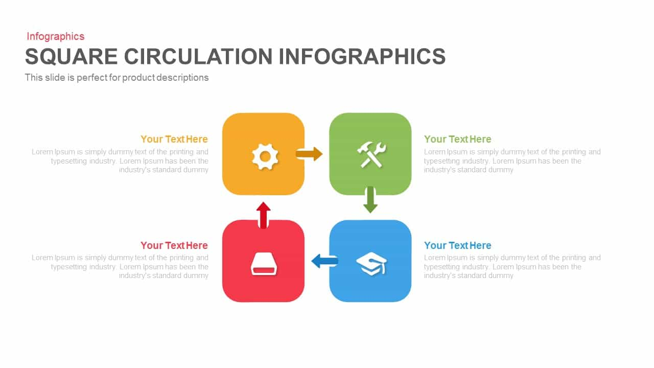 Square circulation infographics PowerPoint template and keynote