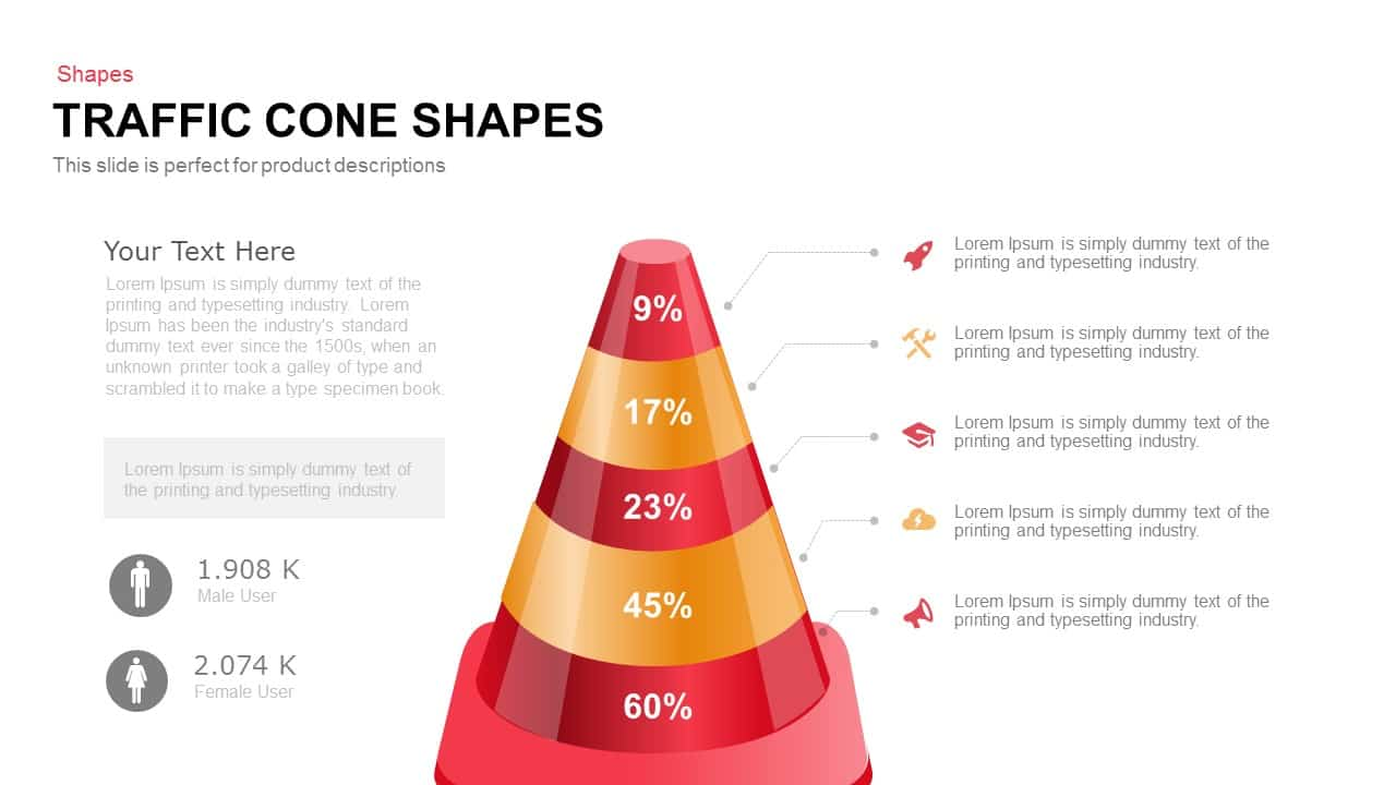 Traffic Cone Shapes PowerPoint Template