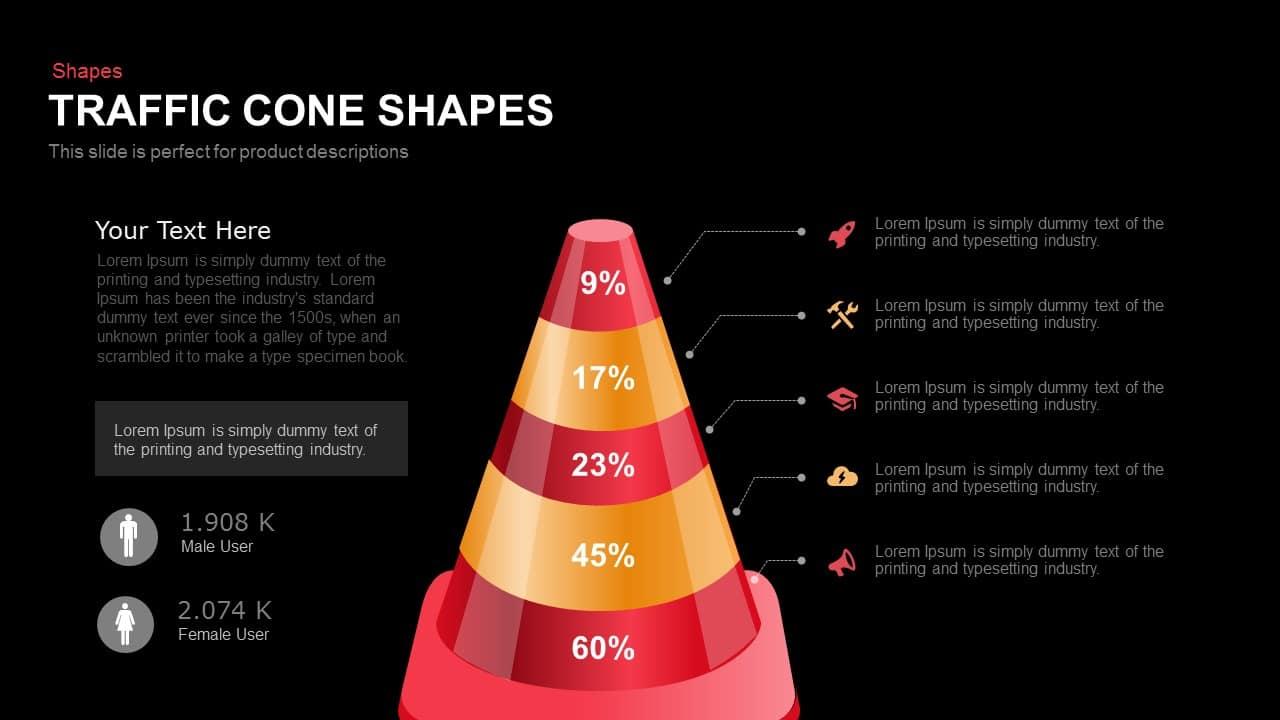 traffic cone shapes powerpoint and keynote template slidebazaar