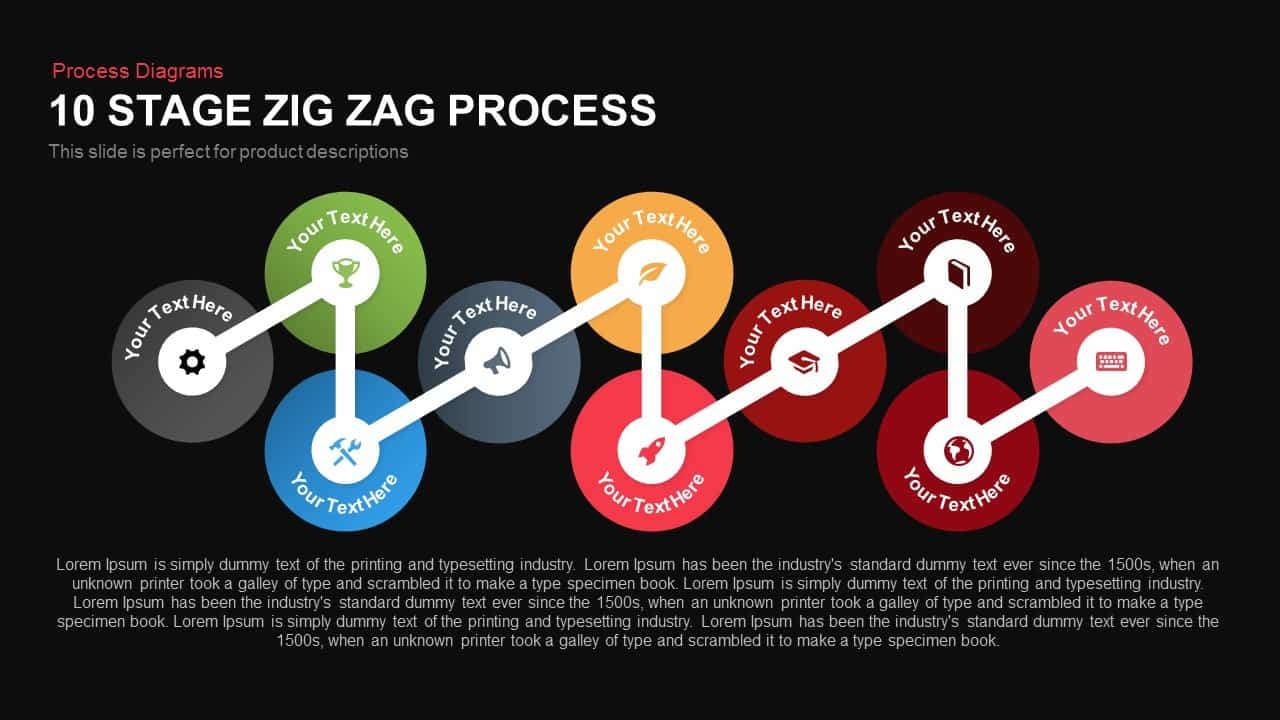 10 Stage Zig Zag Process Powerpoint and Keynote template