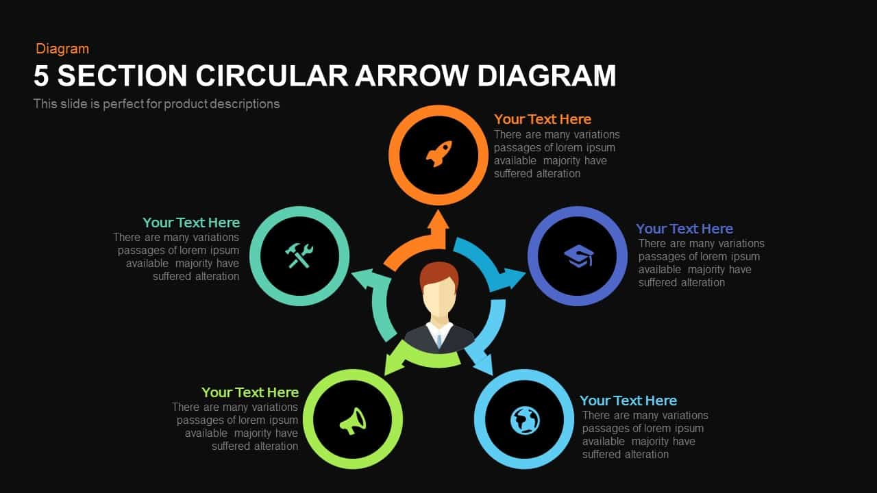 5 Section Circular Arrow Diagram