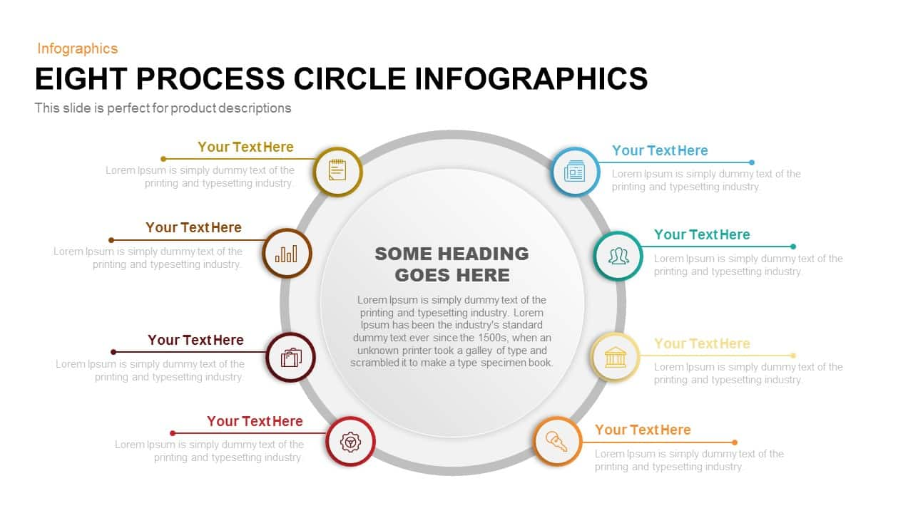 eight process circle infographics powerpoint and keynote template slidebazaar. Black Bedroom Furniture Sets. Home Design Ideas