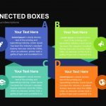 Four Connected Boxes Powerpoint and Keynote template
