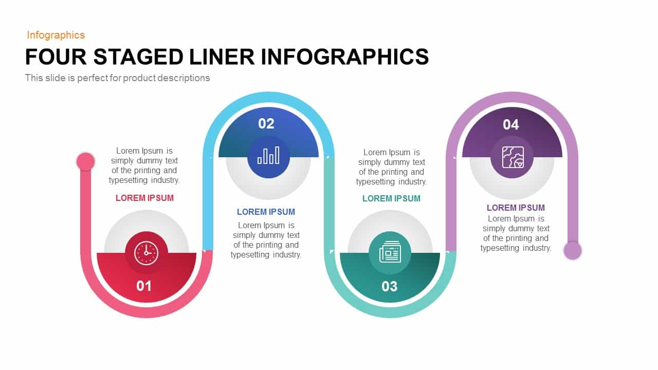 4 Staged Linear PowerPoint Template and Keynote