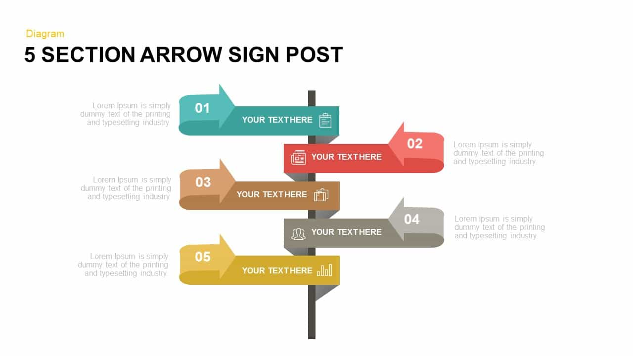 5 Section Arrow Sign Post Powerpoint and Keynote template