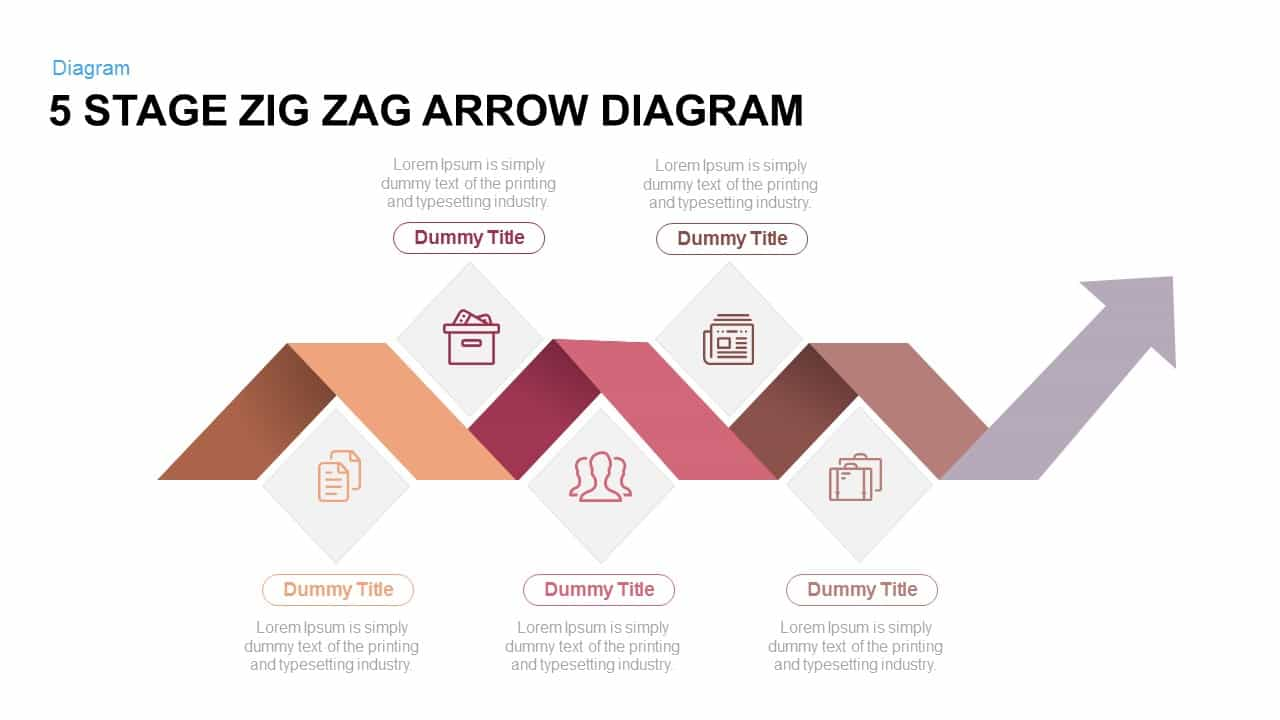 5 Stage Zig Zag Arrow Diagram Powerpoint and Keynote template