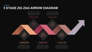 5 Stage ZigZag Arrow Diagram PowerPoint Template and Keynote Slide