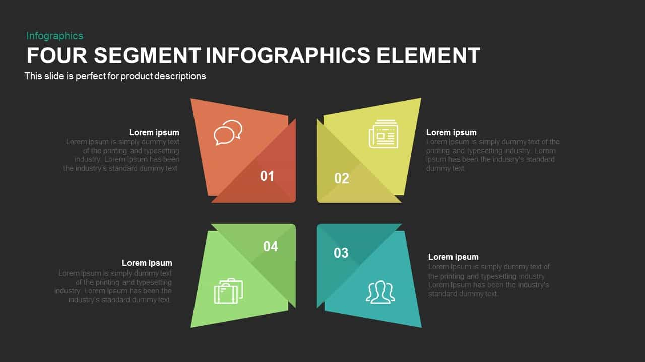 4 Segment infographics elements PowerPoint template
