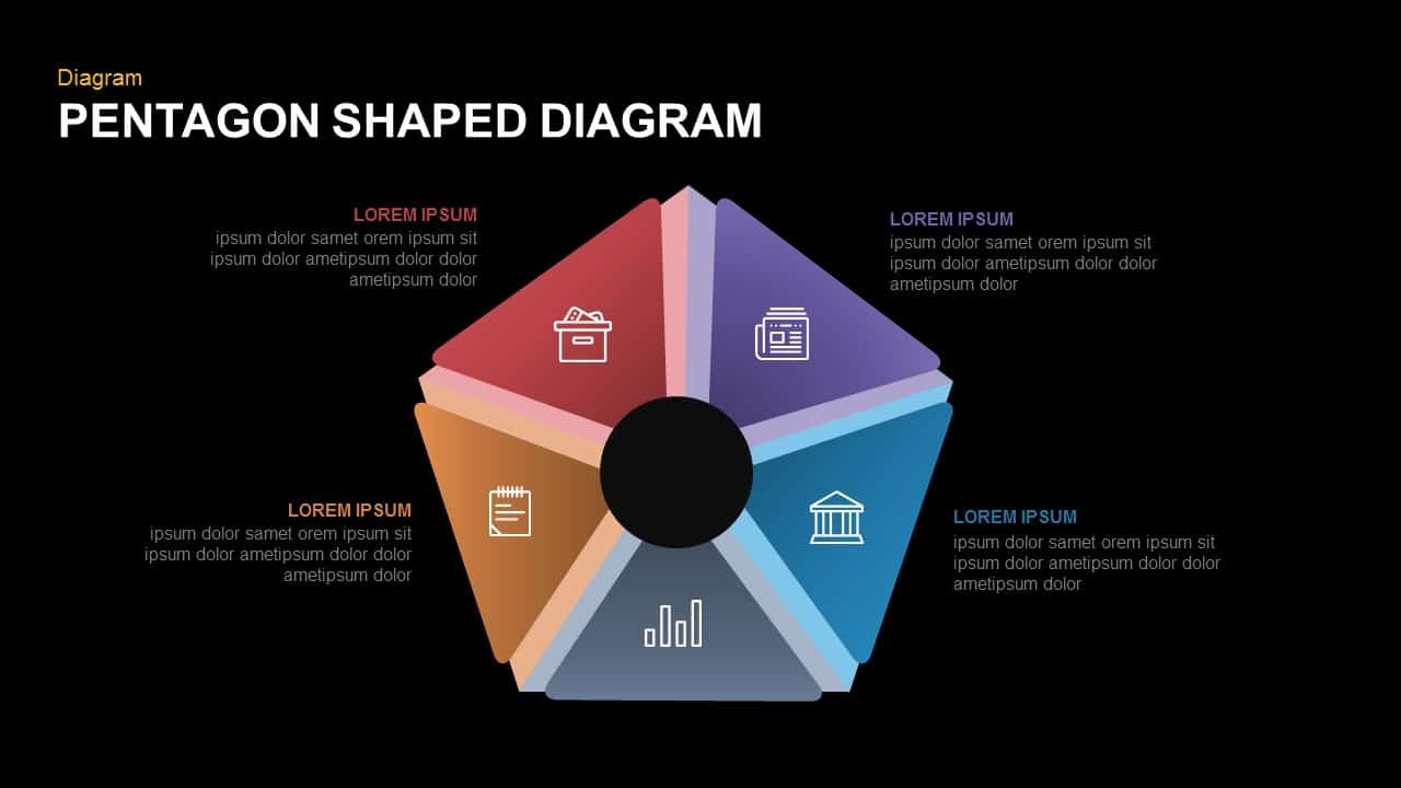 Pentagon Shaped Diagram Powerpoint and Keynote template