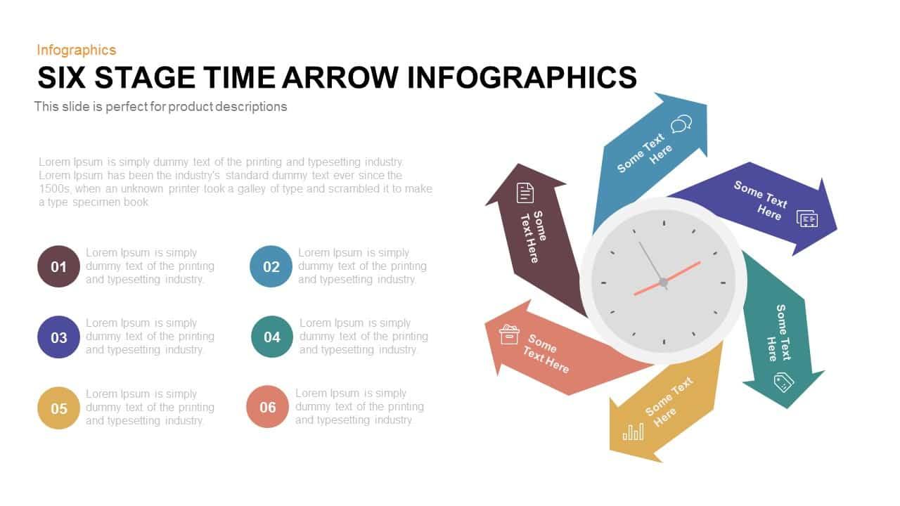 Six Stage Time Arrow Infographics