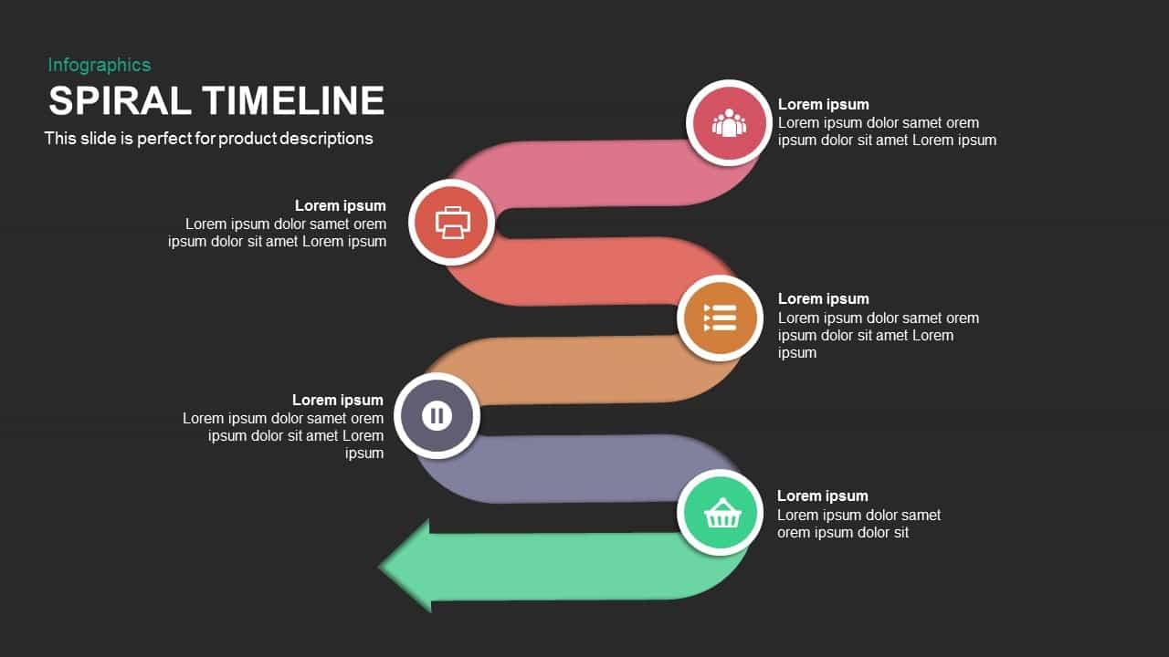 spiral timeline powerpoint and keynote template slidebazaar. Black Bedroom Furniture Sets. Home Design Ideas