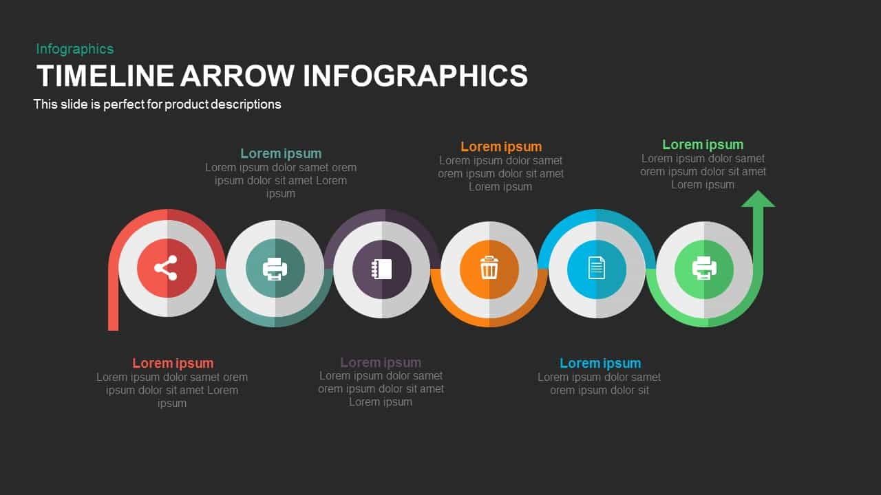 Timeline Arrow Infographics Powerpoint and Keynote template