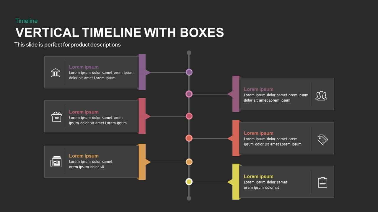 Vertical Timeline With Boxes Powerpoint And Keynote Template - Timeline template keynote