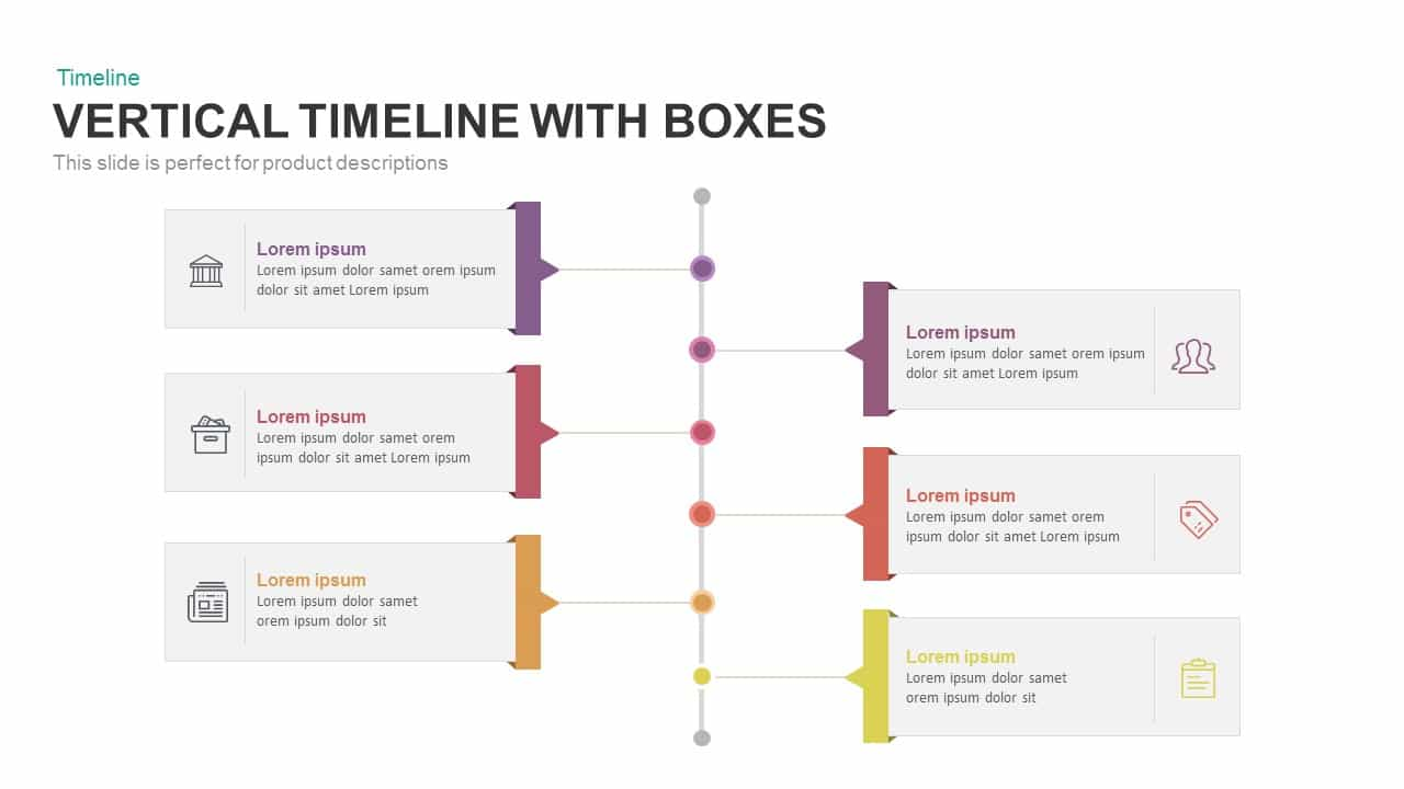 Vertical Timeline with Boxes Powerpoint and Keynote template