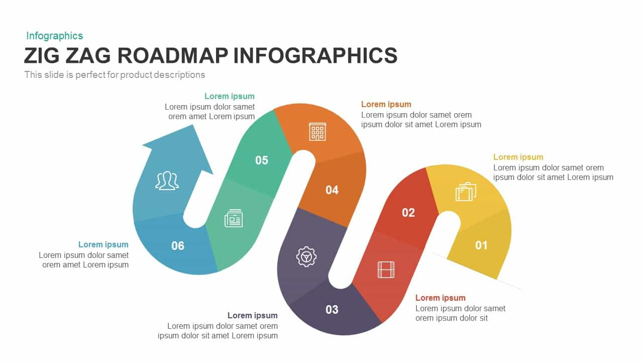 zig zag roadmap powerpoint template keynote slidebazaar