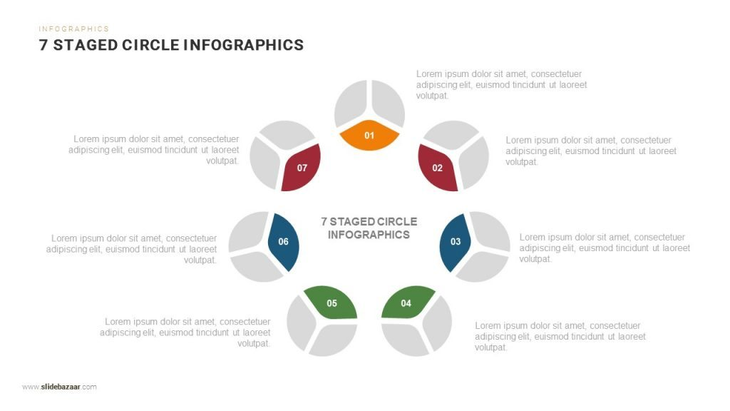 7 staged circle infographics powerpoint and keynote