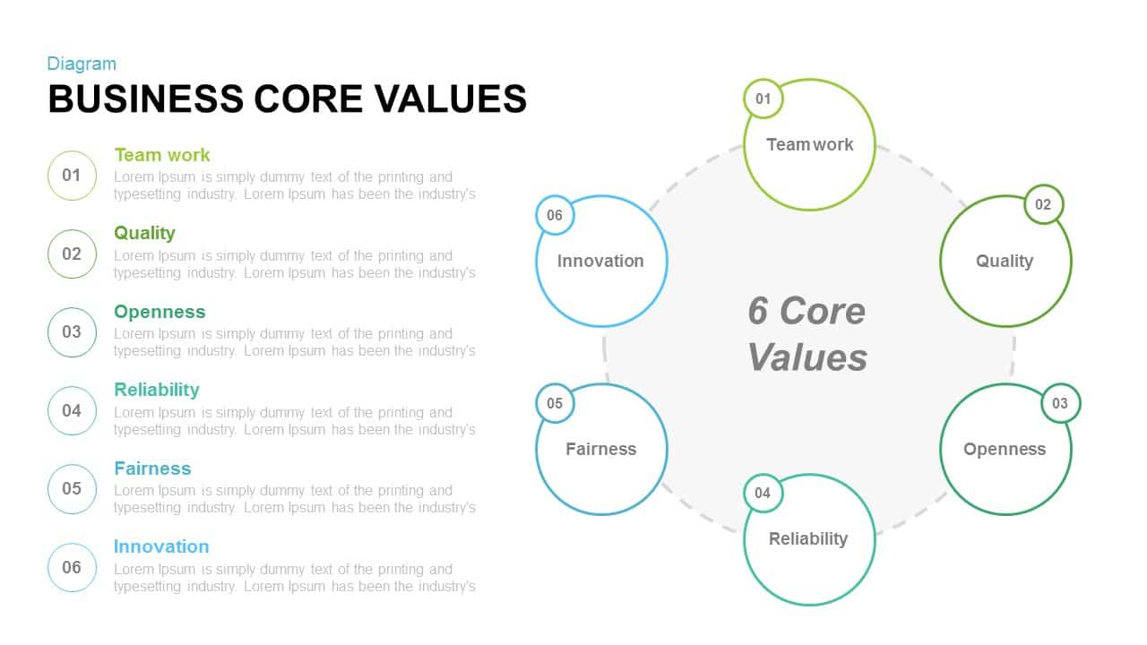 Business Core Values Powerpoint and Keynote template