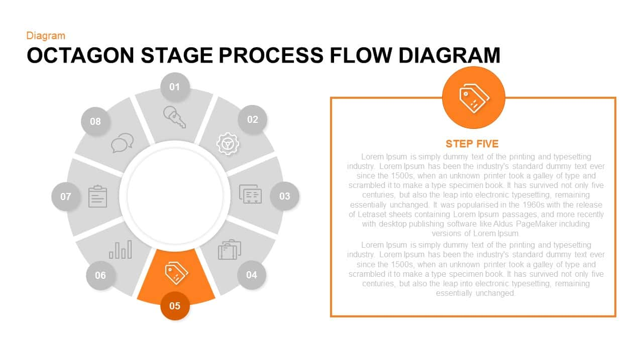 Octagon Stage Process Flow Powerpoint and Keynote template