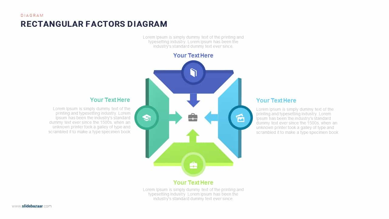 Rectangular Contributing Factors PowerPoint Diagram
