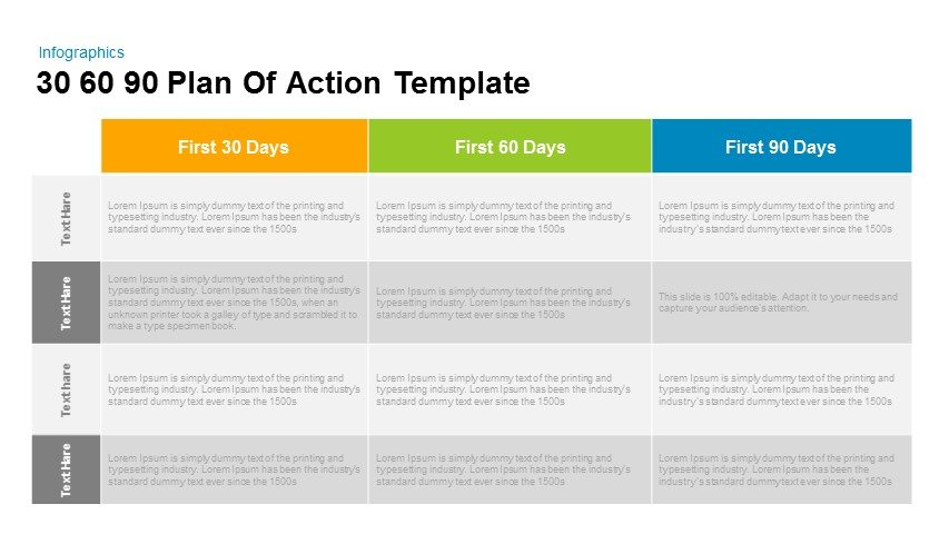 the first 90 days plan template - 30 60 90 plan of action powerpoint and keynote template
