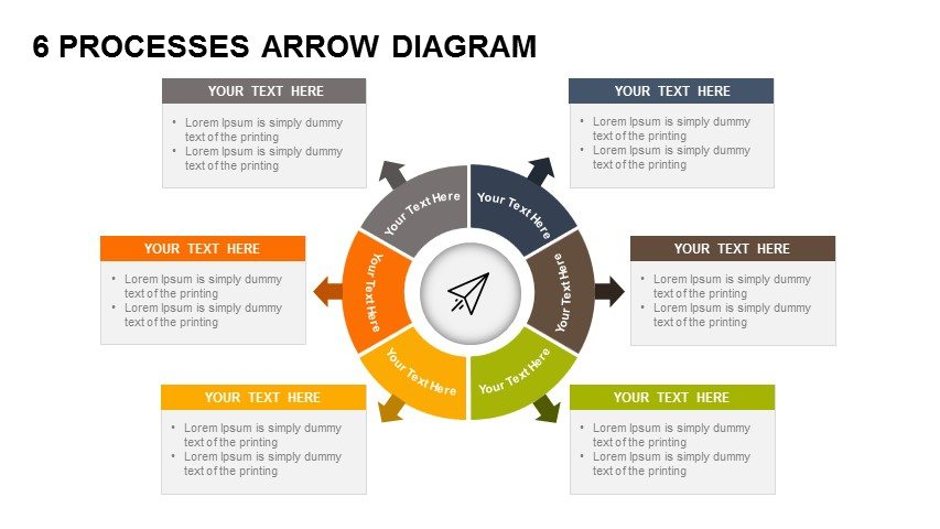6 processes diagram arrow PowerPoint template and keynote