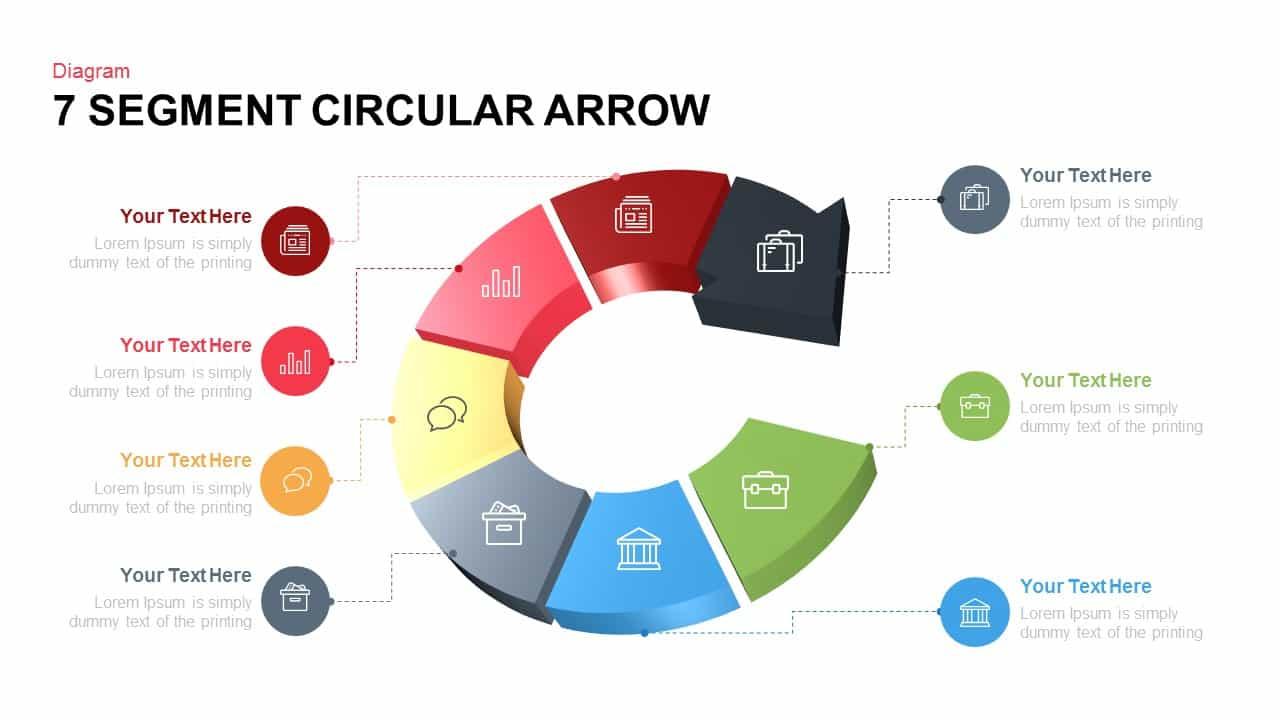 7 Segment Circular Arrow Powerpoint template